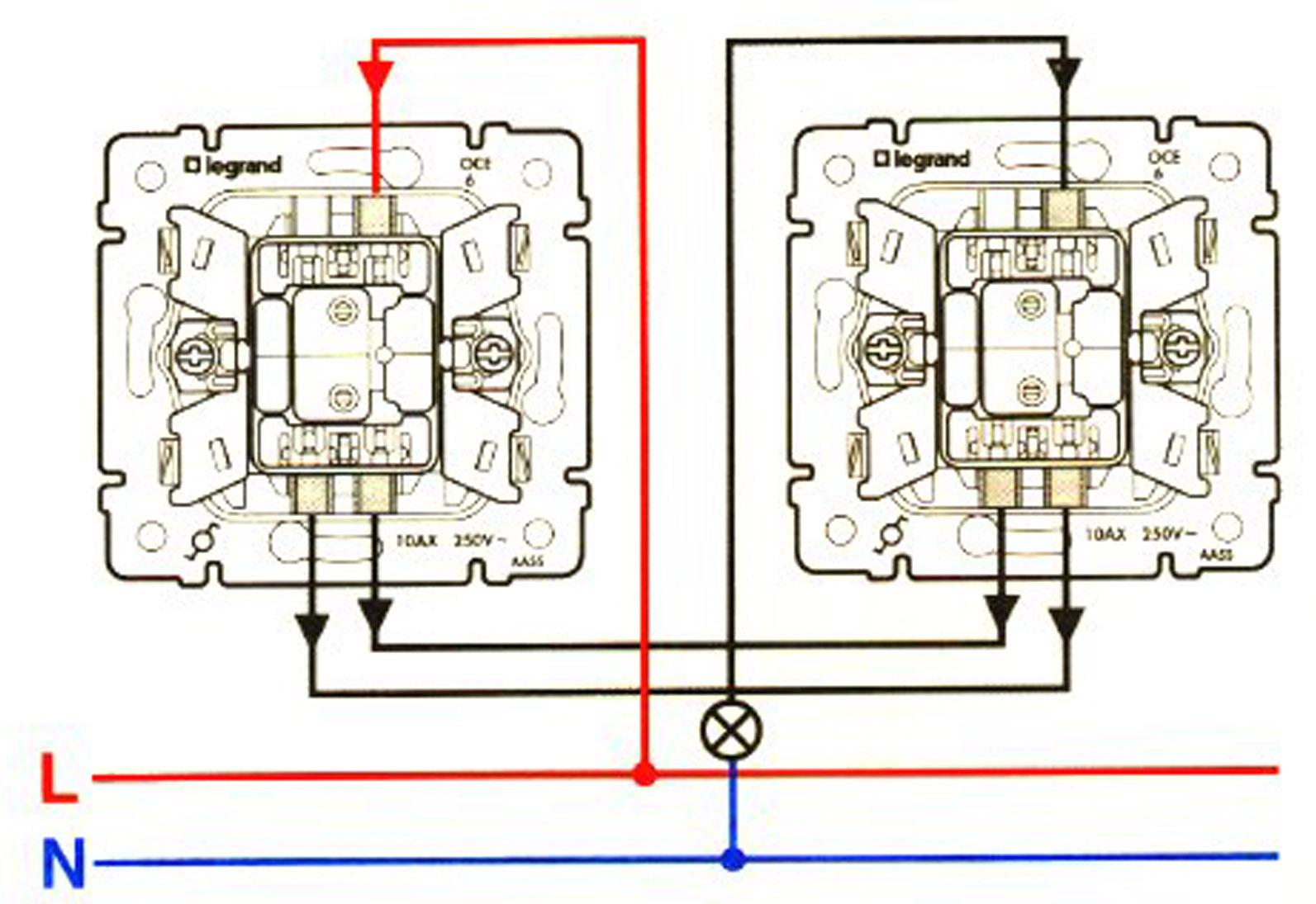 Двухклавишные промежуточные выключатели схема подключения
